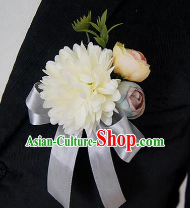 Top Grade Classical Wedding Silk Flowers,Groom Emulational Corsage Groomsman White Ribbon Brooch Flowers for Men