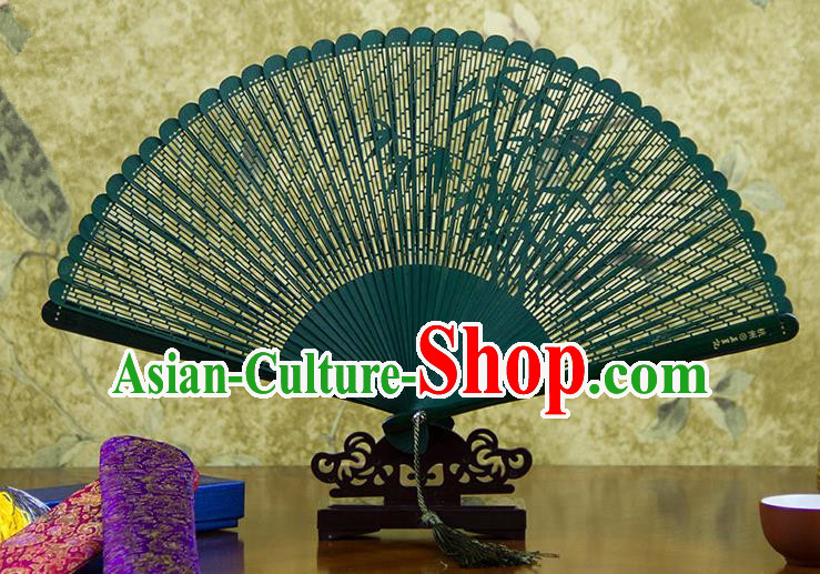 Traditional Chinese Handmade Crafts Bamboo Carving Folding Fan, China Classical Printing Bamboo Sensu Hollow Out Wood Green Fan Hanfu Fans for Women