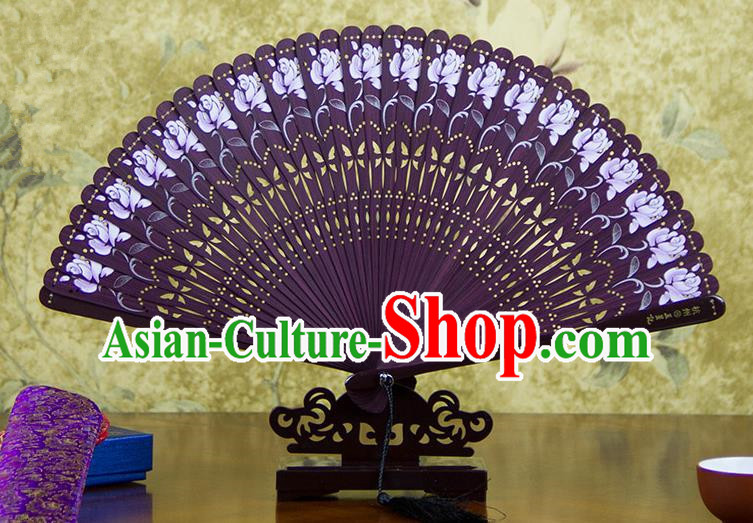 Traditional Chinese Handmade Crafts Bamboo Carving Folding Fan, China Classical Printing Rosa Chinensis Sensu Hollow Out Wood Purple Fan Hanfu Fans for Women