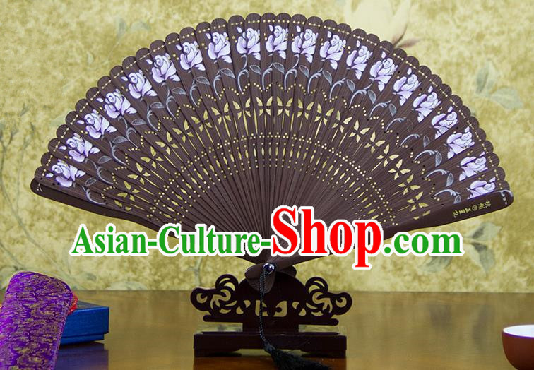 Traditional Chinese Handmade Crafts Bamboo Carving Folding Fan, China Classical Printing Flowers Sensu Hollow Out Wood Coffee Fan Hanfu Fans for Women