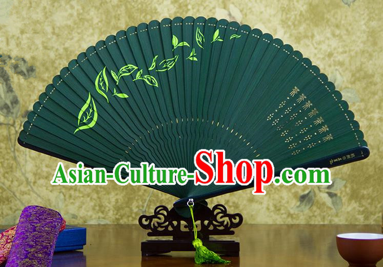 Traditional Chinese Handmade Crafts Bamboo Carving Folding Fan, China Classical Printing Tea Sensu Hollow Out Wood Green Fan Hanfu Fans for Women