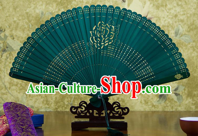 Traditional Chinese Handmade Crafts Bamboo Carving Folding Fan, China Classical Printing Rose Flower Sensu Hollow Out Wood Green Fan Hanfu Fans for Women