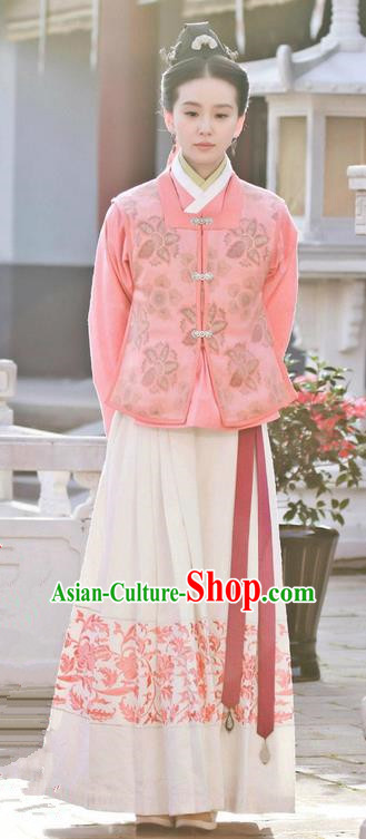 Traditional Ancient Chinese Ming Dynasty Nobility Lady Dress Clothing, Chinese Ancient Princess Hanfu Embroidered Costume and Headpiece Complete Set
