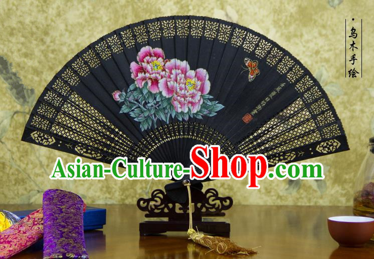 Traditional Chinese Handmade Crafts Ebomy Folding Fan, China Classical Hand Painting Peony Sensu Hollow Out Fan Hanfu Fans for Women