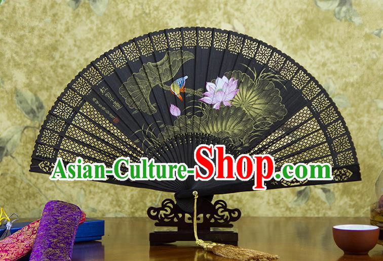 Traditional Chinese Handmade Crafts Ebomy Folding Fan, China Classical Hand Painting Lotus Bird Sensu Hollow Out Fan Hanfu Fans for Women