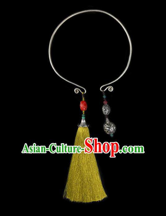 Traditional Chinese Accessories National Necklace, China Miao Sliver Tassel Colored Glaze Necklet for Women