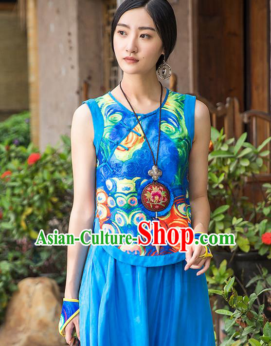 Traditional Ancient Chinese National Costume, Elegant Hanfu Bellyband Shirt, China Tang Suit Printing Blouse Blue Camisole Shirts Clothing for Women