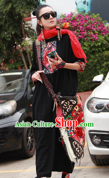 Traditional Chinese Costume Elegant Hanfu Embroidered Flowers Linen Dress, China Tang Suit Cheongsam Upper Outer Garment Qipao Black Dress Clothing for Women