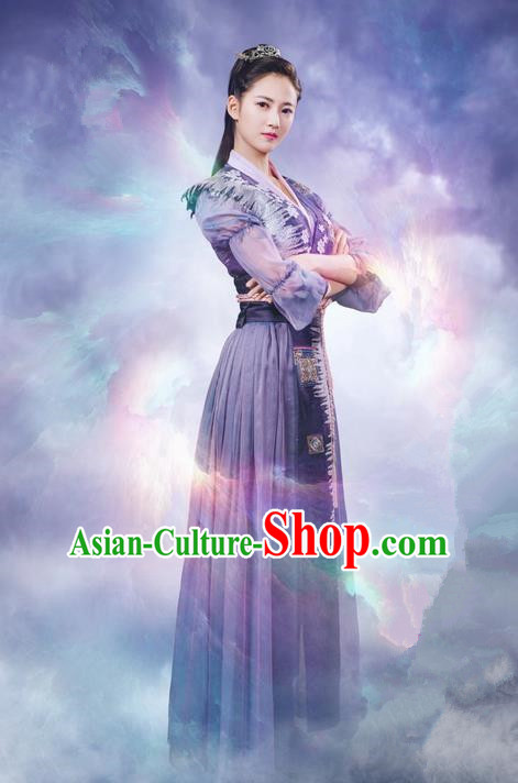 Traditional Ancient Chinese Swordswomen Clothing, Chinese Ancient Heroine Costume and Headpiece Complete Set