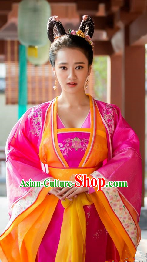 Traditional Ancient Chinese Imperial Concubine Dress Clothing, Chinese Ancient Tang Dynasty Imperial Consort Fairy Embroidered Costume and Headpiece Complete Set