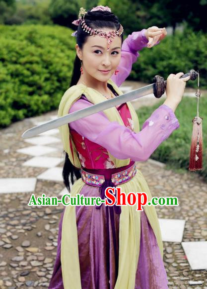 Traditional Ancient Chinese Swordswoman Dress Clothing, Chinese Ancient Tang Dynasty Martial Arts Young Lady Costume and Headpiece Complete Set