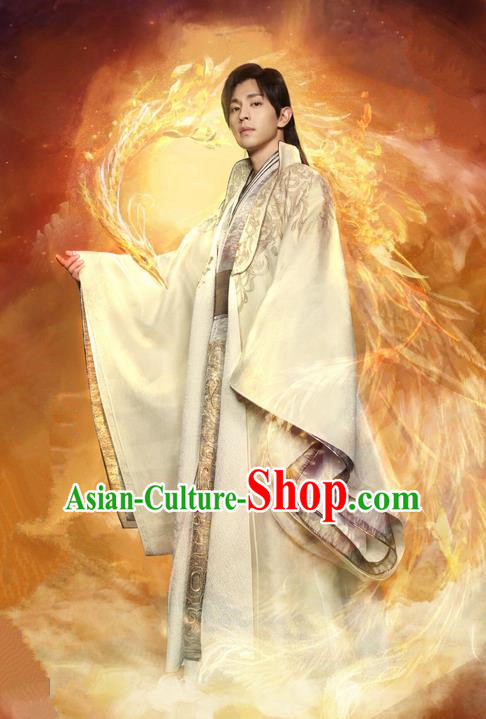 Traditional Ancient Chinese Imperial Prince Robe Clothing, Chinese Ancient Han Dynasty Nobility Childe Embroidered Costume and Headpiece Complete Set for Men