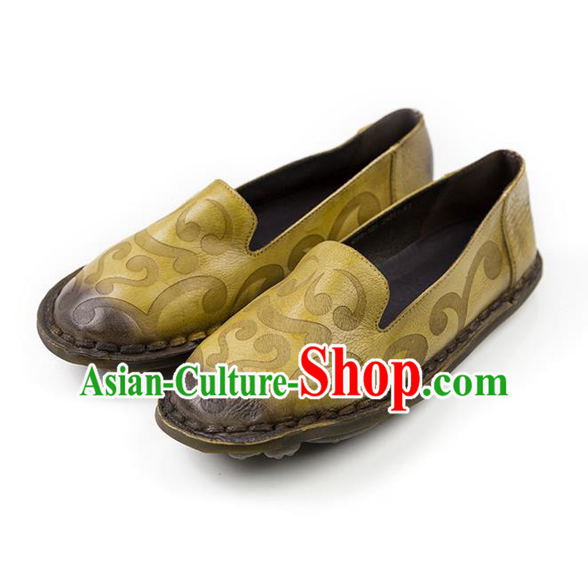 Traditional Chinese Shoes Embroidered Shoes Yellow Cow Leather Hanfu Shoes for Women