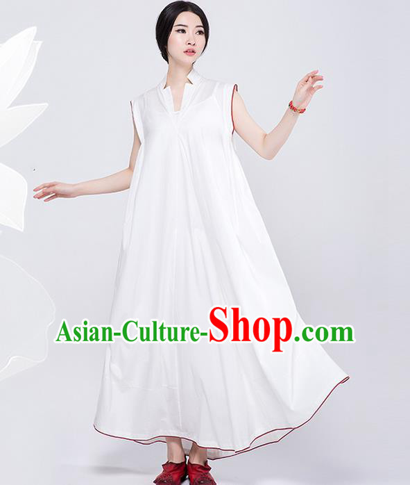 Traditional Chinese Costume Elegant Hanfu Dress, China Tang Suit White Qipao Dress Clothing for Women