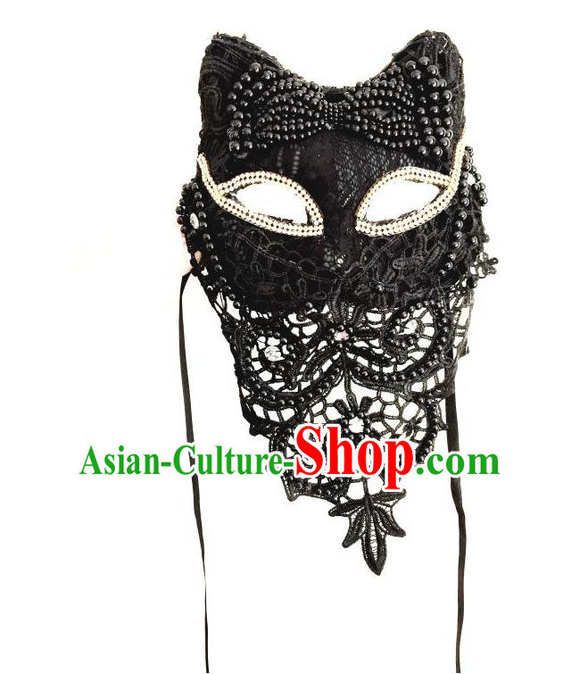 Top Grade Halloween Masquerade Accessories Beads Mask, Brazilian Carnival Fox Mask Veil for Women