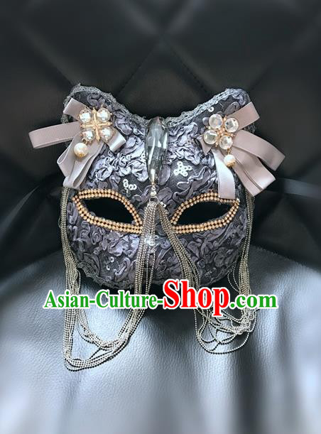 Top Grade Halloween Masquerade Accessories Crystal Mask, Brazilian Carnival Grey Cat Mask for Women
