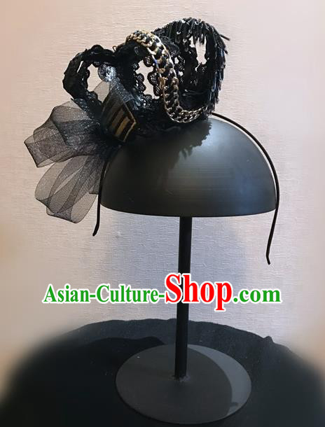 Top Grade Halloween Masquerade Ceremonial Occasions Handmade Model Show Baroque Headwear Hair Crown, Brazilian Carnival Black Lace Headdress for Women