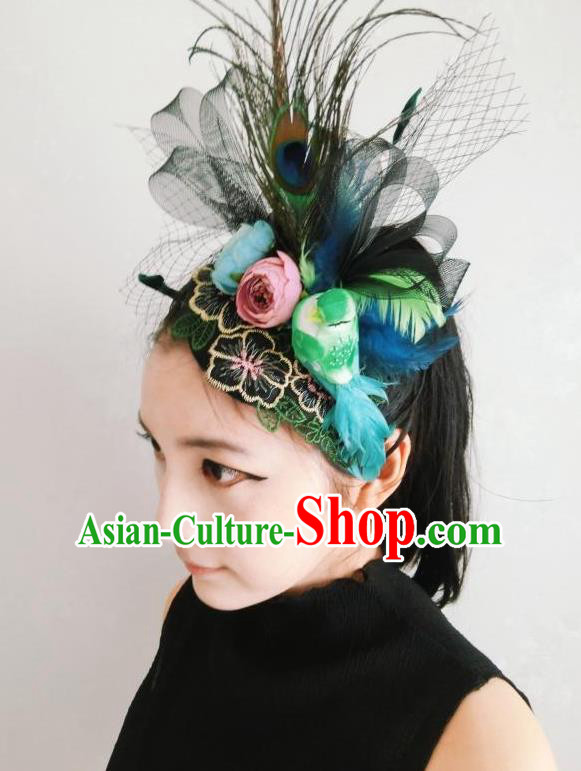 Top Grade Halloween Masquerade Ceremonial Occasions Handmade Model Show Baroque Black Veil Feather Hair Accessories Flowers Headdress for Women
