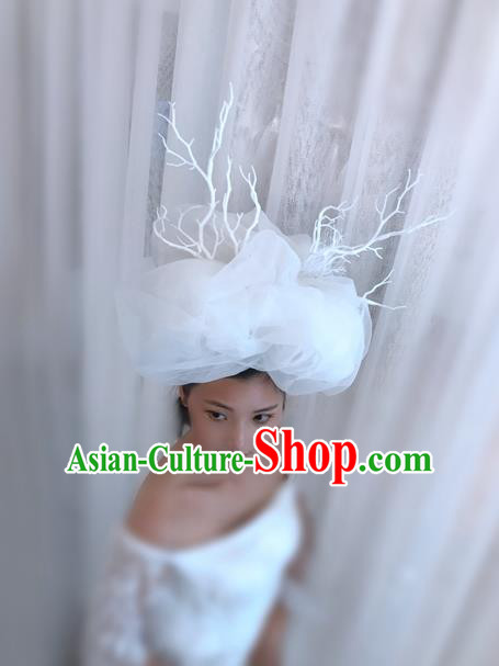 Top Grade Halloween Masquerade Ceremonial Occasions Handmade Model Show White Veil Hair Accessories Headdress Vintage Princess Hat for Women