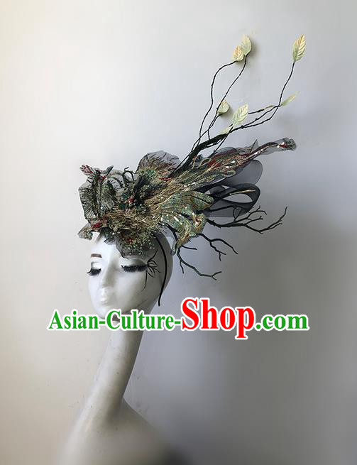 Top Grade Halloween Masquerade Ceremonial Occasions Handmade Model Show Embroidery Phoenix Hair Accessories Headdress Vintage Princess Hair Clasp for Women