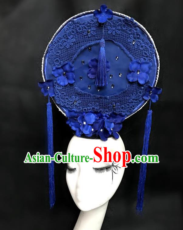 Top Grade Chinese Theatrical Headdress Ornamental Flowers Floral Hair Accessories Round Headwear, Ceremonial Occasions Handmade Traditional Manchu Headdress for Women