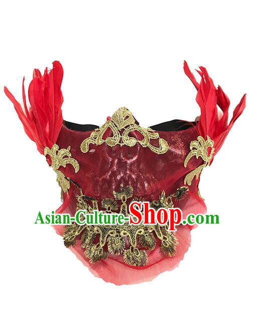 Top Grade Halloween Masquerade Ceremonial Occasions Handmade Model Show Red Feather Mask Headdress for Men