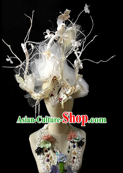 Top Grade Halloween Masquerade Ceremonial Occasions Handmade Model Show Hair Accessories, Brazilian Carnival Butterfly Headdress for Women