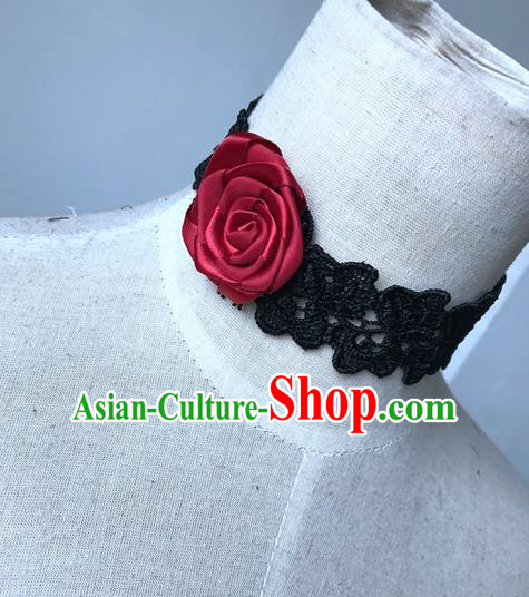 Top Grade Halloween Masquerade Ceremonial Occasions Handmade Model Show Gothic Necklet Vintage Rose Lace Necklace for Women