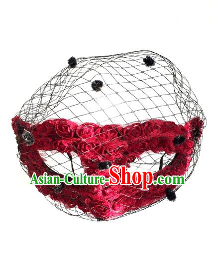 Top Grade Halloween Masquerade Ceremonial Occasions Handmade Model Show Gothic Black Veil Red Rose Mask for Women