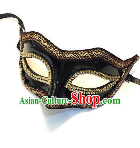 Top Grade Chinese Theatrical Headdress Ornamental Black Mask, Halloween Fancy Ball Ceremonial Occasions Handmade Crystal Blindfold for Men
