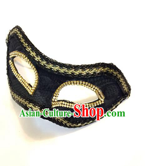 Top Grade Chinese Theatrical Headdress Ornamental Black Mask, Halloween Fancy Ball Ceremonial Occasions Handmade Blindfold for Men