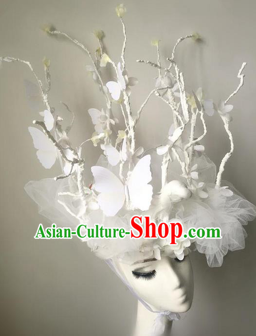Top Grade Chinese Theatrical Luxury Headdress Ornamental White Butterfly Headwear, Halloween Fancy Ball Ceremonial Occasions Handmade Bride Headpiece for Women