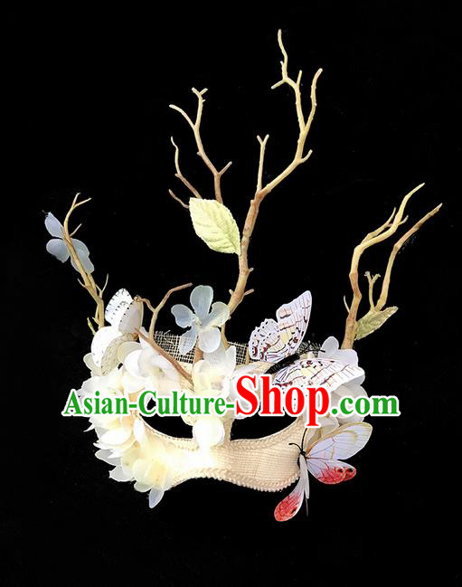 Top Grade Chinese Theatrical Luxury Headdress Ornamental Branch Butterfly Mask, Halloween Fancy Ball Ceremonial Occasions Handmade Bride Face Mask for Women