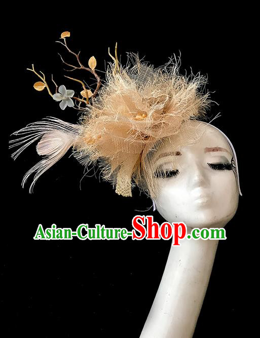 Top Grade Chinese Theatrical Luxury Headdress Ornamental Feather Hair Clasp, Halloween Fancy Ball Ceremonial Occasions Handmade Headwear for Women