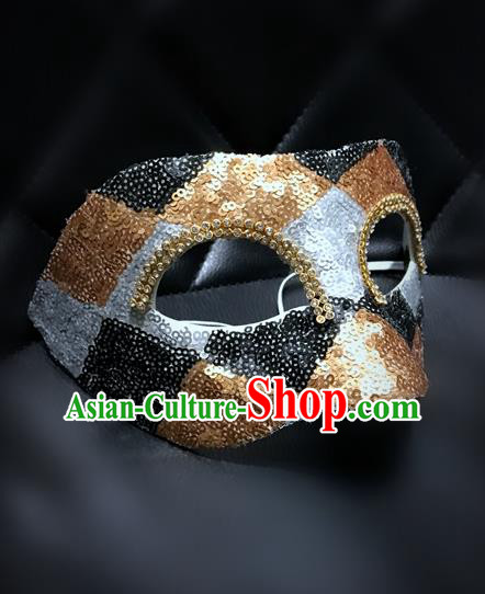 Top Grade Chinese Theatrical Luxury Headdress Ornamental Mask, Halloween Fancy Ball Ceremonial Occasions Handmade Golden Blindfold for Men
