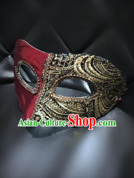 Top Grade Chinese Theatrical Luxury Headdress Ornamental Mask, Halloween Fancy Ball Ceremonial Occasions Handmade Golden and Red Blindfold for Men
