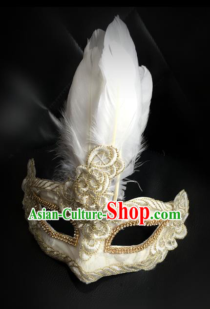 Top Grade Chinese Theatrical Luxury Headdress Ornamental Feather Mask, Halloween Fancy Ball Ceremonial Occasions Handmade White Face Mask for Men