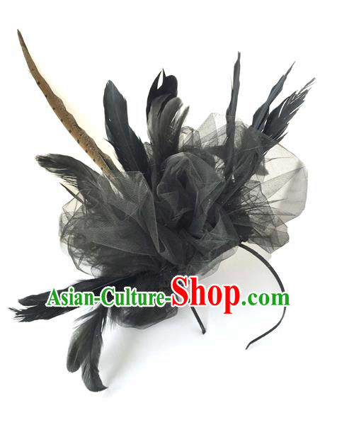 Top Grade Chinese Theatrical Luxury Headdress Ornamental Black Feather Hair Clasp, Halloween Fancy Ball Ceremonial Occasions Handmade Headwear for Women
