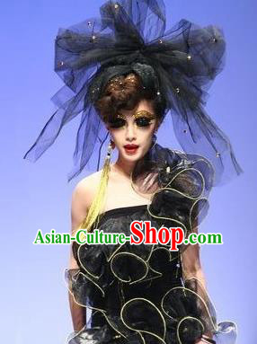 Top Grade Chinese Asian Headpiece Headpieces Model Show Veil Headdress, Ceremonial Occasions Handmade Traditional Ornamental Black Bowknot Headdress for Women