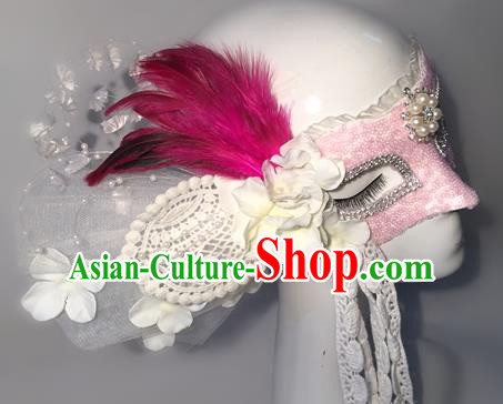 Top Grade Chinese Theatrical Luxury Headdress Ornamental Feather Mask, Halloween Fancy Ball Ceremonial Occasions Handmade Lace Face Mask for Women