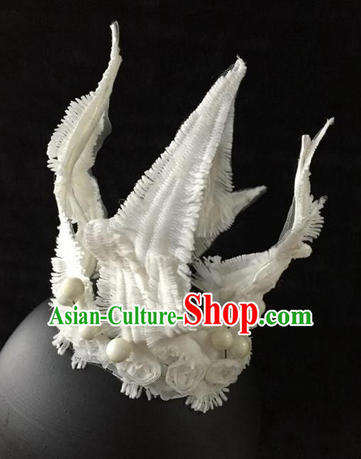 Top Grade Chinese Theatrical Luxury Headdress Ornamental White Hair Crown, Halloween Fancy Ball Ceremonial Occasions Handmade Bride Headwear for Women