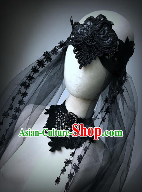 Top Grade Chinese Theatrical Luxury Headdress Ornamental Black Lace Hair Accessories, Halloween Fancy Ball Asian Headpieces Model Show Veil Headwear for Women