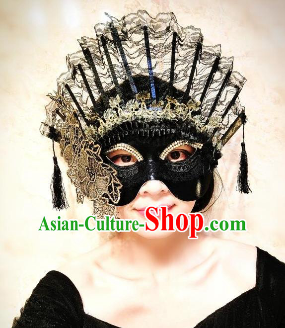 Top Grade Chinese Theatrical Luxury Headdress Ornamental Lace Mask, Halloween Fancy Ball Asian Headpieces Model Show Headwear for Women