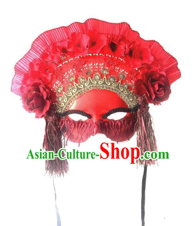 Top Grade Chinese Theatrical Luxury Headdress Ornamental Red Mask, Halloween Fancy Ball Asian Headpieces Model Show Headwear for Women