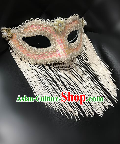 Top Grade Chinese Theatrical Luxury Headdress Ornamental Jazz Dance Mask, Halloween Fancy Ball Ceremonial Occasions Handmade Pink Tassel Face Mask for Men