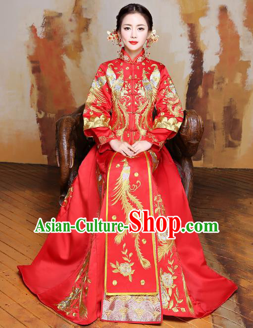 Traditional Ancient Chinese Wedding Costume Handmade XiuHe Suits Embroidery Phoenix Dress Longfeng Gown Bride Toast Red Plated Buttons Cheongsam, Chinese Style Hanfu Wedding Clothing for Women