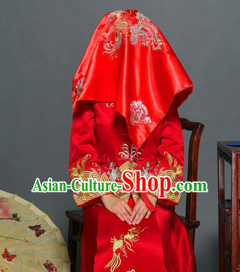 Traditional Ancient Chinese Wedding Embroidery Phoenix Red Veil, Chinese Style Wedding Red Bridal Cover for Women
