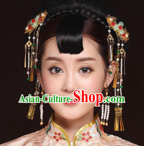 Traditional Handmade Chinese Ancient Classical Hair Accessories Bride Wedding Barrettes Tassel Phoenix Coronet, Xiuhe Suit Hair Jewellery Hair Fascinators Hairpins for Women