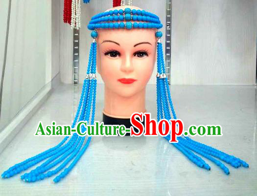 Traditional Handmade Chinese Mongol Nationality Handmade Blue Beads Tassel Hair Accessories, China Mongols Mongolian Minority Nationality Wedding Headwear for Women