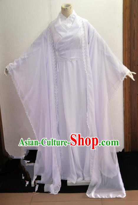 Chinese Ancient Cosplay Swordswoman White Costumes, Chinese Traditional Dress Clothing Chinese Cosplay Princess Costume for Women
